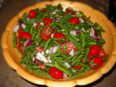 Green Bean Asparagus Salad by EclecticRecipes.com #recipe