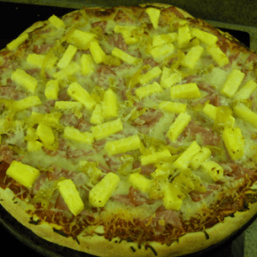 Canadian Bacon, Pineapple, and Banana Pepper Pizza