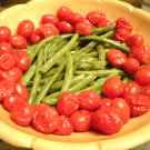 Herb Roasted Green Beans and Tomatoes by EclecticRecipes.com #recipe
