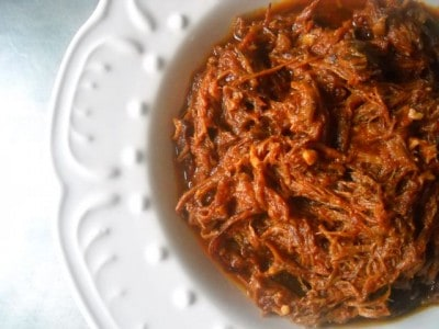 Slow Roasted and Simmered Pulled Pork by EclecticRecipes.com #recipe