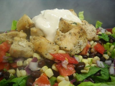 Sante Fe Salad with Sour Cream Chipotle Dressing by EclecticRecipes.com #recipe