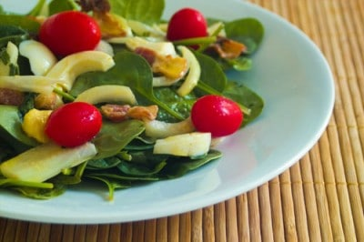 Warm Spinach Salad by EclecticRecipes.com #recipe