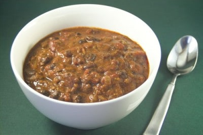 Crock Pot Ancho Chili with Beans by EclecticRecipes.com #recipe