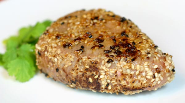 Sesame Seared Ahi Tuna Steak by EclecticRecipes.com #recipe