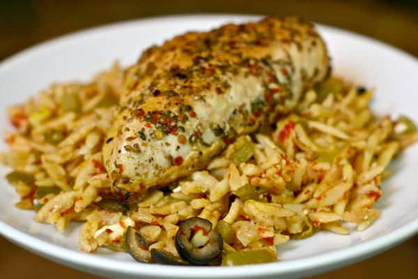 Greek Chicken Orzo by EclecticRecipes.com #recipe