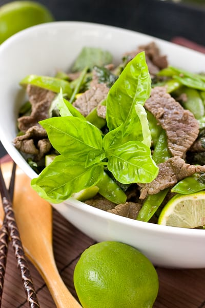 Basil Lime Beef Stir Fry by EclecticRecipes.com #recipe