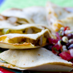 Hawaiian Barbecue Quesadillas and Black Bean Corn Salsa by EclecticRecipes.com #recipe
