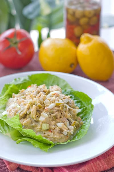 Garden Tuna Salad with Olives by EclecticRecipes.com #recipe