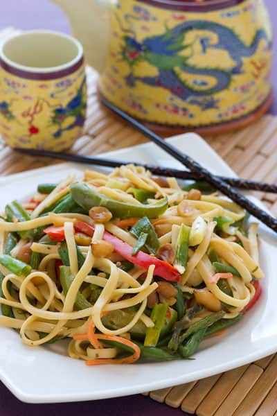 Thai Peanut Noodles by EclecticRecipes.com #recipe