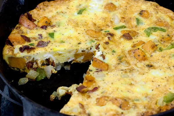 Tortilla Espanola: Spanish Omelette with Sweet Potatoes by EclecticRecipes.com #recipe