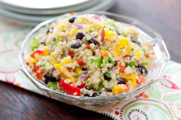 Black Bean Mango Quinoa Salad by EclecticRecipes.com #recipe