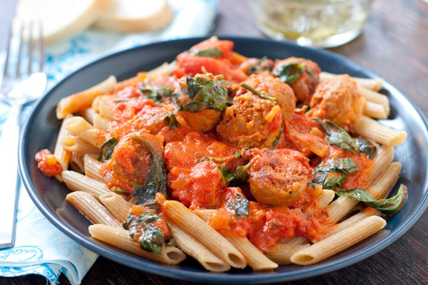 Vodka Cream Pasta with Italian Sausage by EclecticRecipes.com #recipe