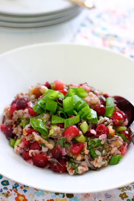 Wild Rice Salad with Cranberries by EclecticRecipes.com #recipe