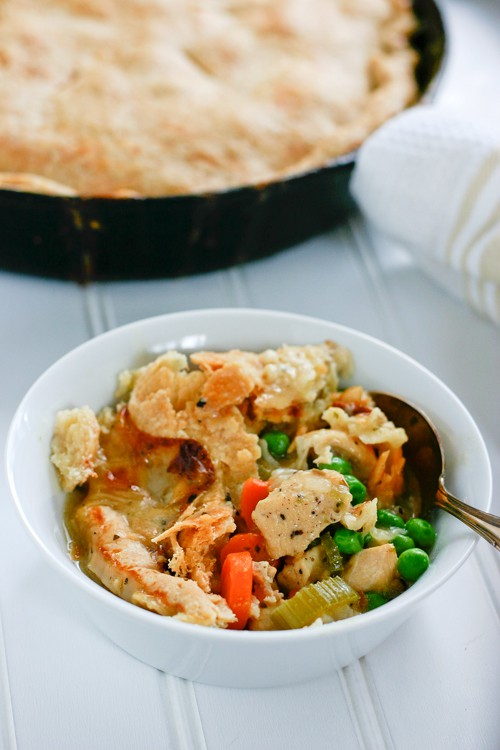 Skillet Chicken Pot Pie by EclecticRecipes.com #recipe