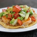 Shrimp Tostadas with Avocado Salsa by EclecticRecipes.com #recipe