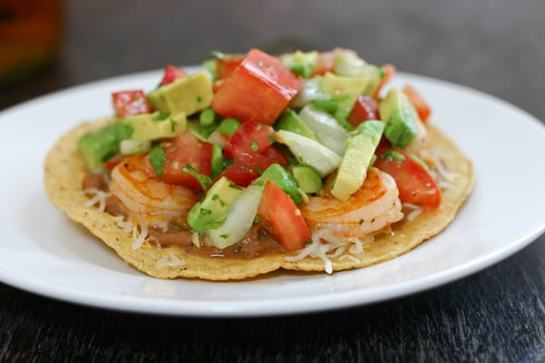 Shrimp Tostadas with Avocado Salsa @EclecticEveryday