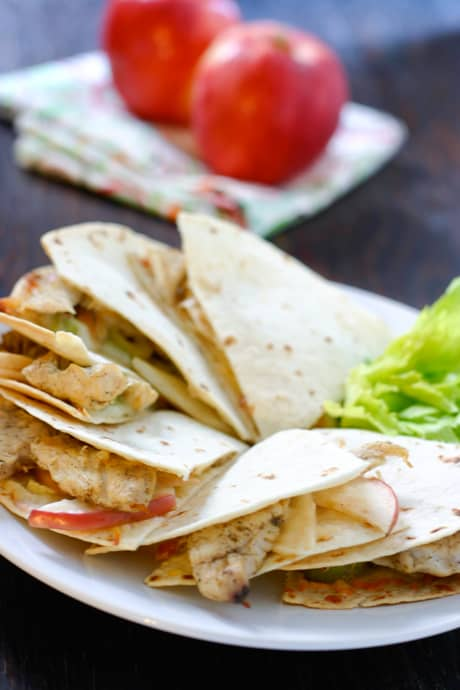 Chicken and Apple Quesadillas by EclecticRecipes.com #recipe