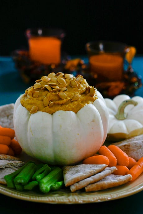 Pumpkin Hummus by EclecticRecipes.com #recipe