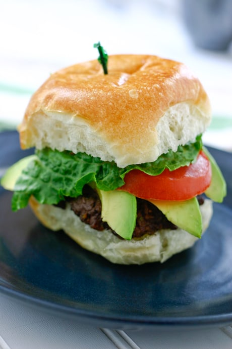 Sliders with Avocado and Chipotle Mayonnaise by EclecticRecipes.com #recipe