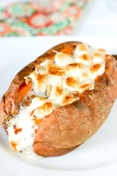 Baked Sweet Potatoes with Marshmallow Pecan Topping by EclecticRecipes.com #recipe