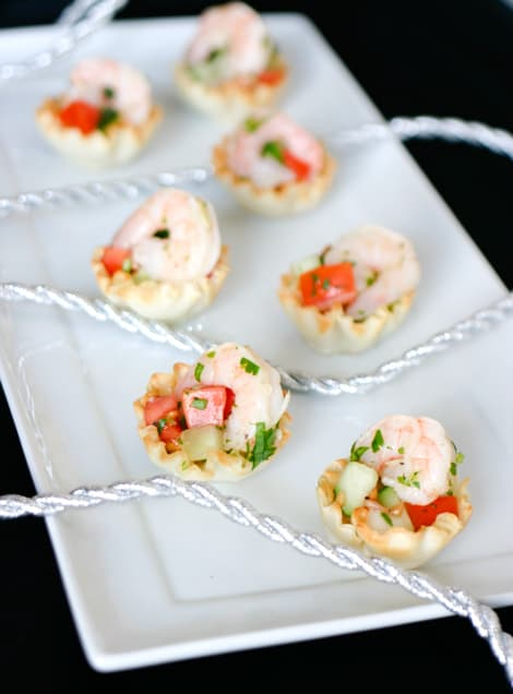 Shrimp Ceviche in Phyllo Cups  by EclecticRecipes.com #recipe