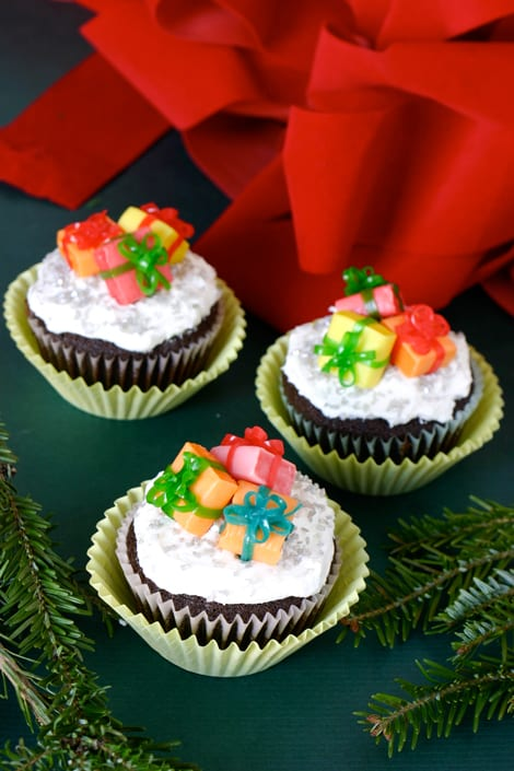 Christmas Cupcakes with Candy Presents by EclecticRecipes.com #recipe