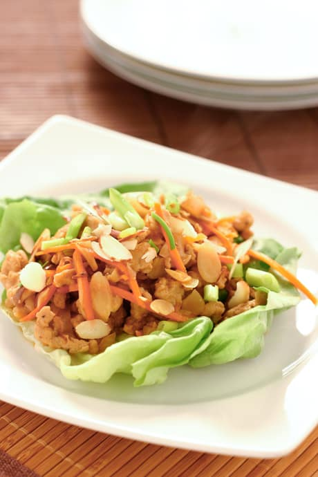 Chicken Lettuce Wraps by EclecticRecipes.com #recipe