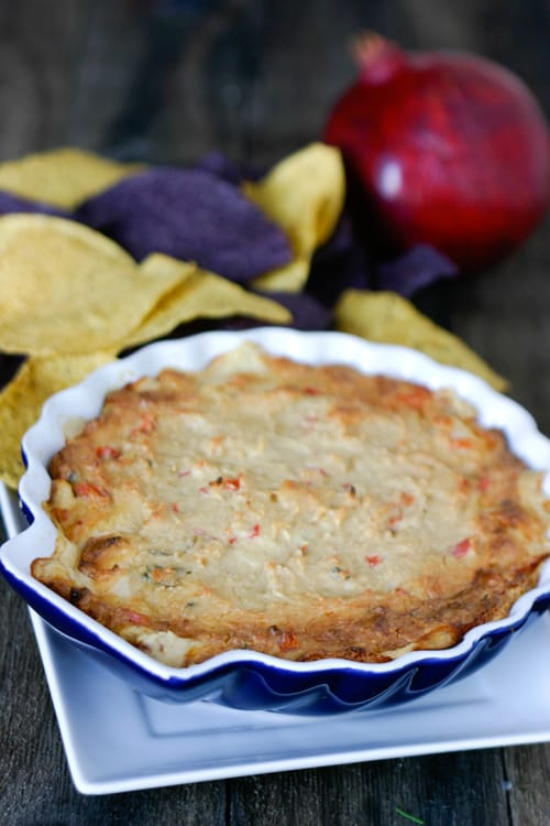 Pomegranate Chipotle Shrimp Dip by EclecticRecipes.com #recipe