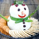 Snowman Cheese Ball by EclecticRecipes.com #recipe