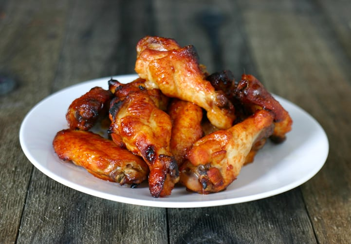 Spicy Bayou Bourbon Glazed Wings by EclecticRecipes.com #recipe