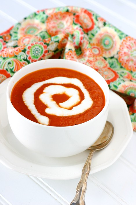 Roasted Red Pepper Tomato Soup by EclecticRecipes.com #recipe