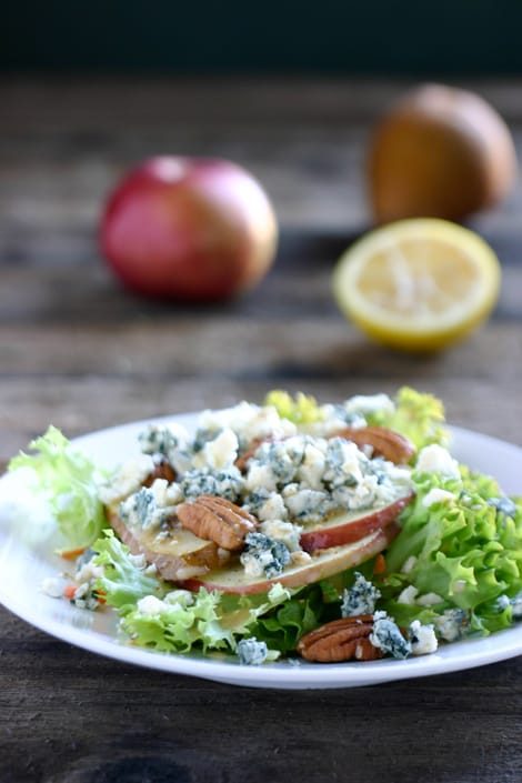 Apple Pear Gorgonzola Salad by EclecticRecipes.com #recipe