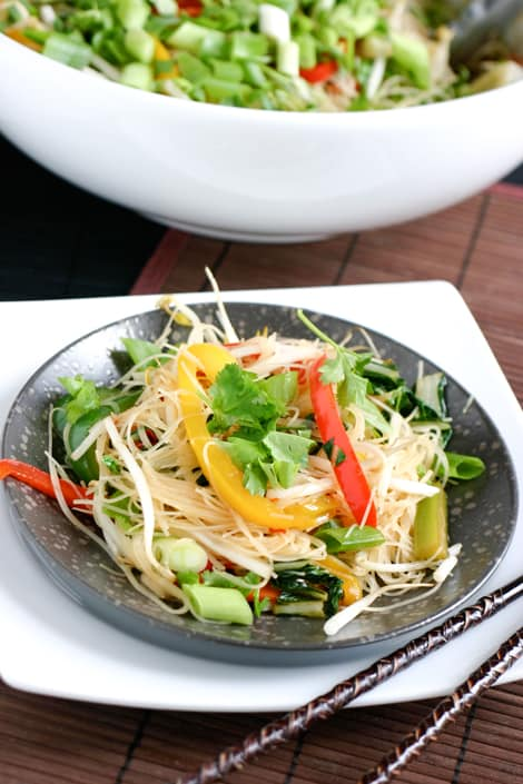 Stir Fry Rice Noodles by EclecticRecipes.com #recipe
