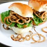 Tobacco Onion Ring Sliders with Apricot Chipotle Aioli by EclecticRecipes.com #recipe