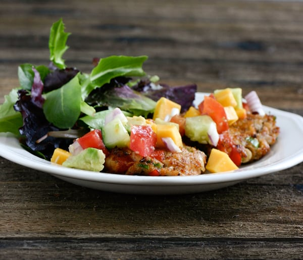 Crab Cakes with Tropical Salsa by EclecticRecipes.com #recipe