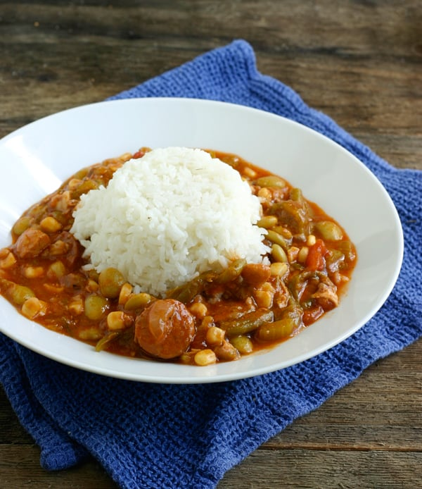 Chicken and Andouille Sausage Gumbo with Vegetables by EclecticRecipes.com #recipe