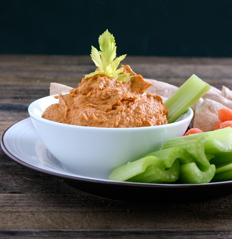 Roasted Red Pepper Hummus by EclecticRecipes.com #recipe