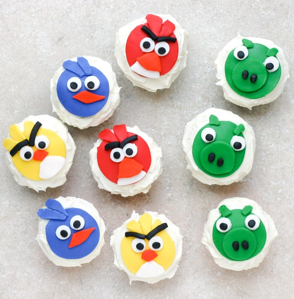 Angry Birds Cupcakes by EclecticRecipes.com #recipe