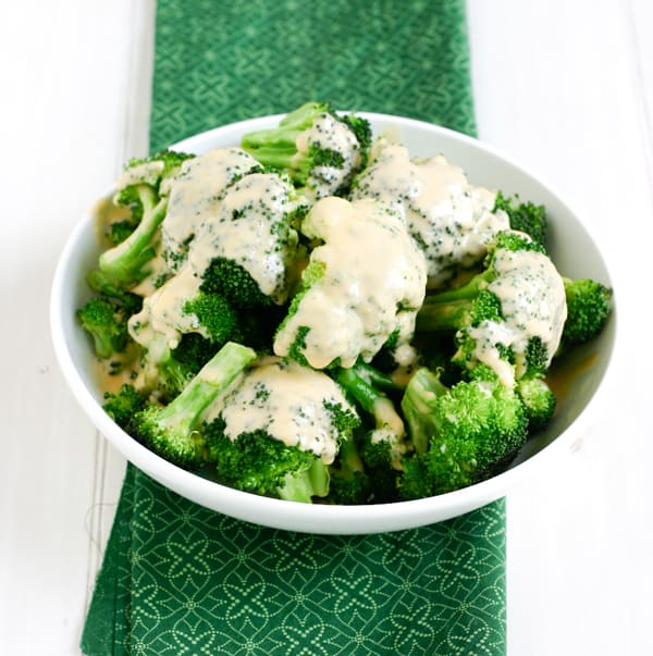 Broccoli with Cheddar Cheese Sauce by EclecticRecipes.com #recipe