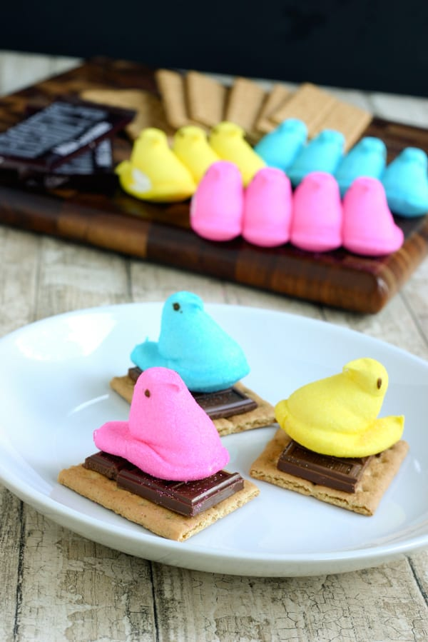 Easy Edible Easter Crafts Recipe: Peeps Marshmallow Smore's