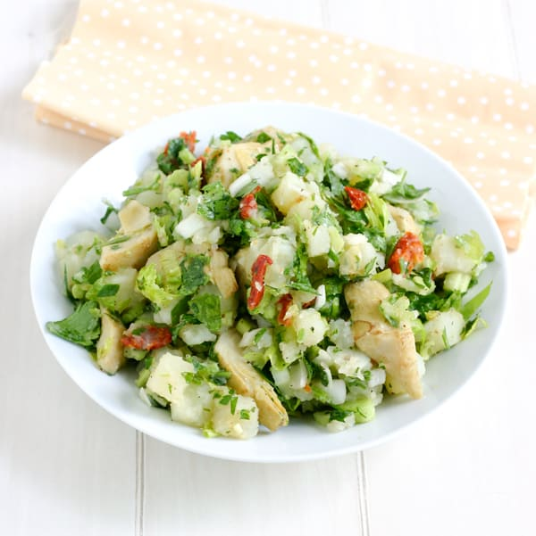 Potato Salad with Artichoke Hearts by EclecticRecipes.com #recipe