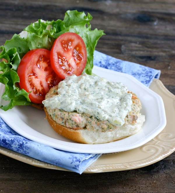 Salmon Burgers with Dill Tartar Sauce by EclecticRecipes.com #recipe