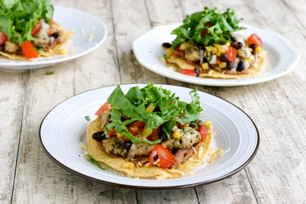 Chicken Tostadas with Black Beans and Sweet Corn by EclecticRecipes.com #recipe
