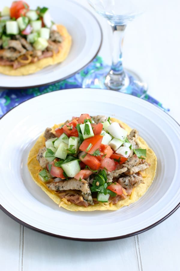 Pork Tostadas with Cucumber Lime Salsa Recipe by EclecticRecipes.com #recipe