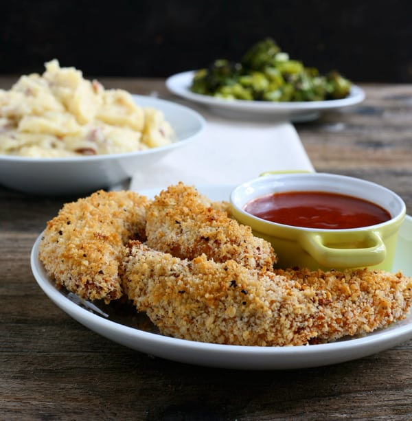 Crispy Panko Chicken Strips with Polynesian Dipping Sauce by EclecticRecipes.com #recipe
