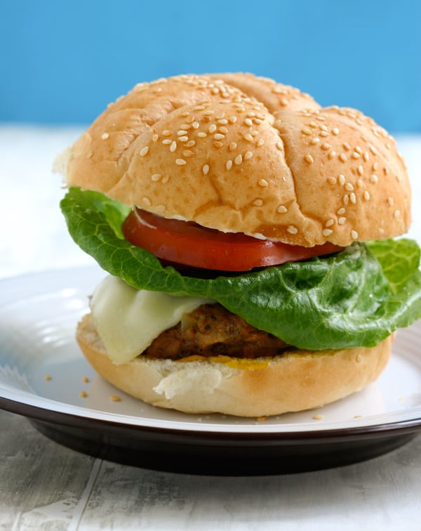 Italian Sausage Turkey Burgers by EclecticRecipes.com #recipe