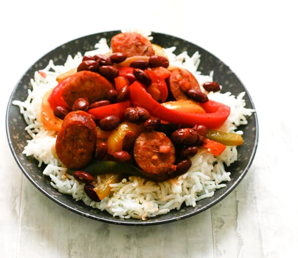 Red Beans and Rice with Sausage by EclecticRecipes.com #recipe