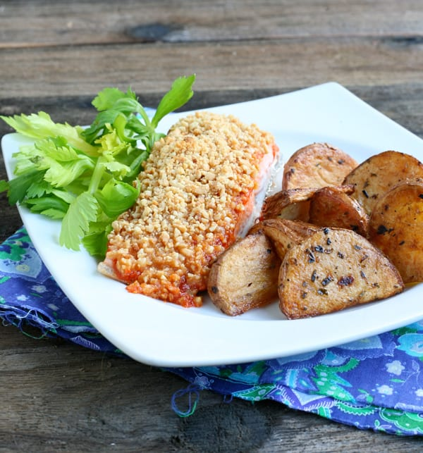 Peanut Crusted Sriracha Salmon  by EclecticRecipes.com #recipe