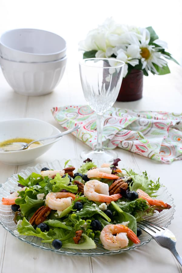 Blueberry Shrimp Salad with Lemon Dressing by EclecticRecipes.com #recipe