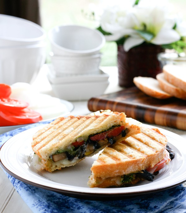 Portabello Mushroom and Basil Pesto Panini by EclecticRecipes.com #recipe